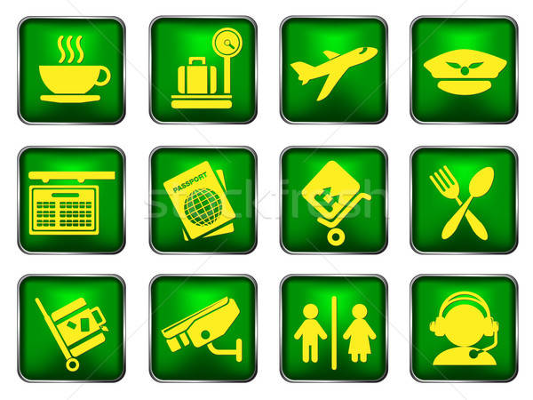 Airport icons Stock photo © ayaxmr