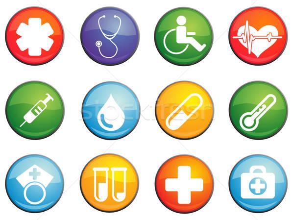 Medische glanzend iconen website gebruiker Stockfoto © ayaxmr
