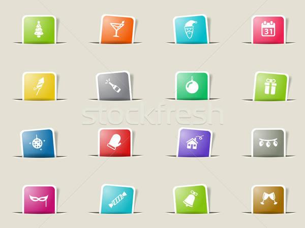 Nieuwjaar eenvoudig iconen web gebruiker Stockfoto © ayaxmr