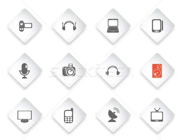Mídia simplesmente ícones símbolo os ícones do web usuário Foto stock © ayaxmr