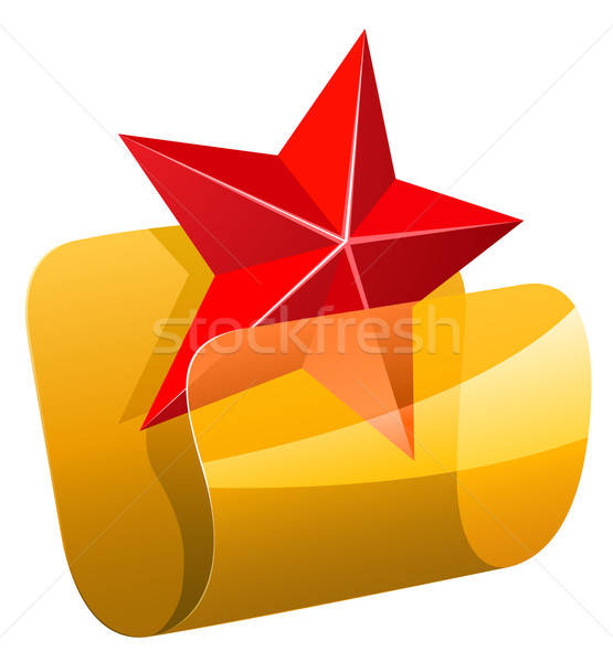 Ulubiony folderze ikona czerwony star odizolowany Zdjęcia stock © ayaxmr