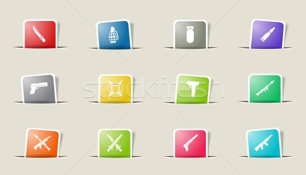 Wapen eenvoudig iconen vector web gebruiker Stockfoto © ayaxmr