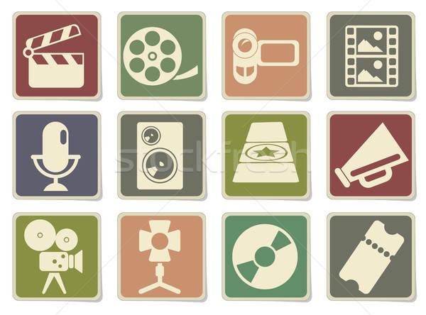 Stock fotó: Filmipar · ikonok · ikon · szett · háló · felhasználó · interfész
