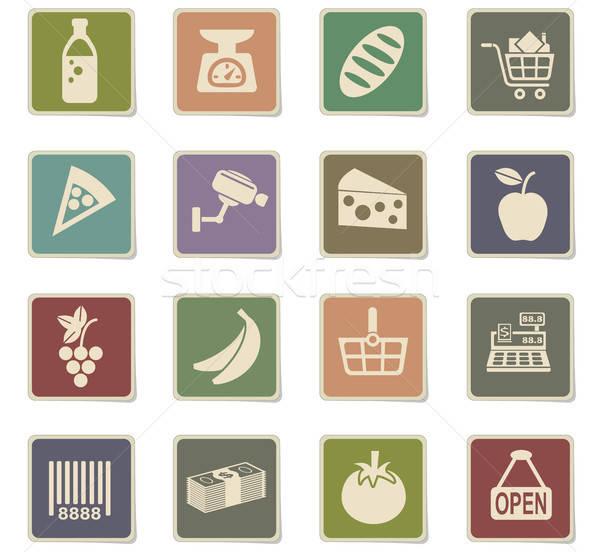 Mercearia os ícones do web usuário interface projeto Foto stock © ayaxmr
