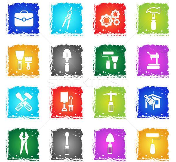 Trabajo herramientas iconos de la web grunge estilo Foto stock © ayaxmr