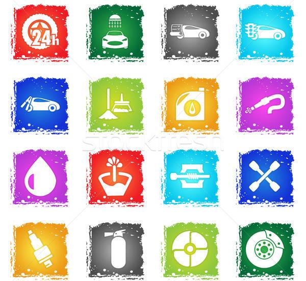 Araba alışveriş web simgeleri grunge stil Stok fotoğraf © ayaxmr