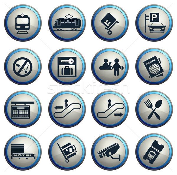 Treinstation symbolen vector iconen web gebruiker Stockfoto © ayaxmr