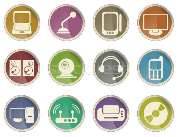Médias icônes étiquette web utilisateur affaires Photo stock © ayaxmr