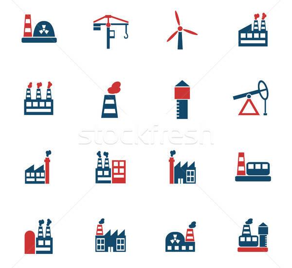 industrial building icon set Stock photo © ayaxmr