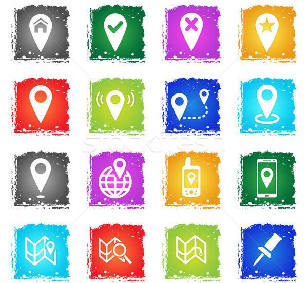 Stockfoto: Kaarten · eenvoudig · vector · grunge · stijl