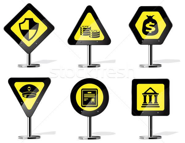 Placa sinalizadora ícones vetor teia banco Foto stock © ayaxmr