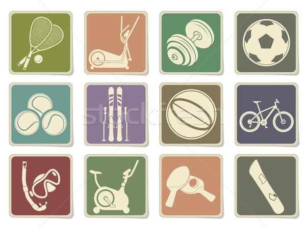 Fitness sportu wektora ikona internetowych komórkowych Zdjęcia stock © ayaxmr