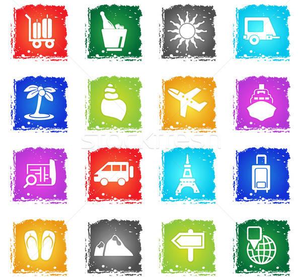 Viaje vector iconos de la web grunge estilo Foto stock © ayaxmr