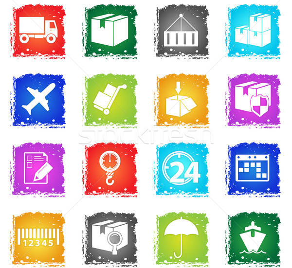 delivery icon set Stock photo © ayaxmr