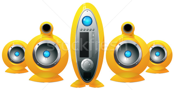 Hi-Fi  yellow speakers system Stock photo © ayaxmr