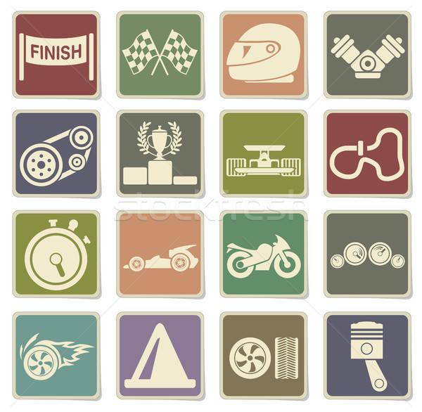 Racing icons set Stock photo © ayaxmr