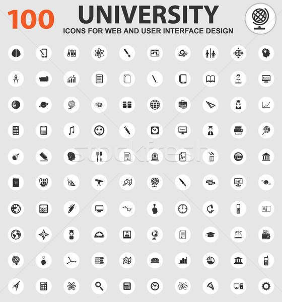 University icons set Stock photo © ayaxmr