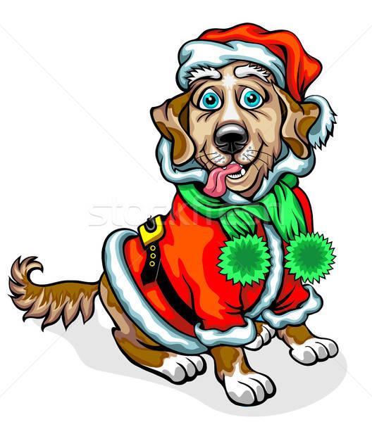 Köpek görüntü noel baba Noel orman dizayn Stok fotoğraf © ayaxmr