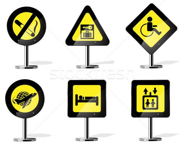 Yol işareti simgeler vektör web uçak Stok fotoğraf © ayaxmr