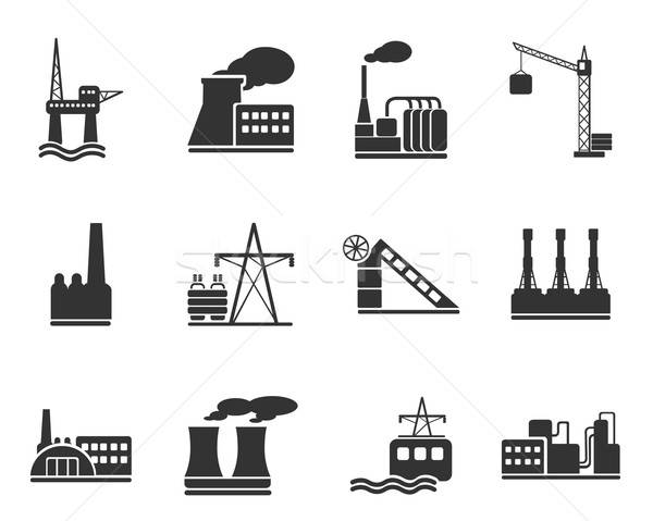 Fabrik Industrie Symbole einfach Web Benutzer Stock foto © ayaxmr