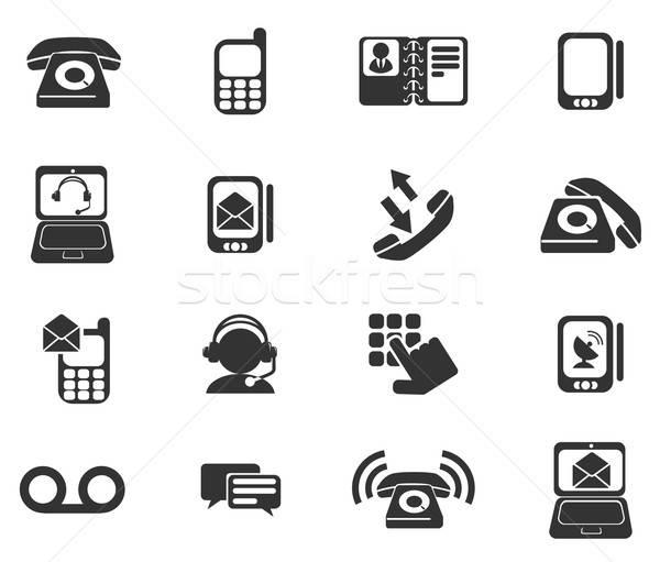 Telefoon iconen eenvoudig symbolen web gebruiker Stockfoto © ayaxmr