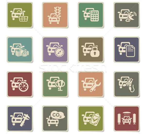 Autó szolgáltatás ikon gyűjtemény webes ikonok felhasználó interfész Stock fotó © ayaxmr