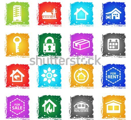 real estate icon set Stock photo © ayaxmr