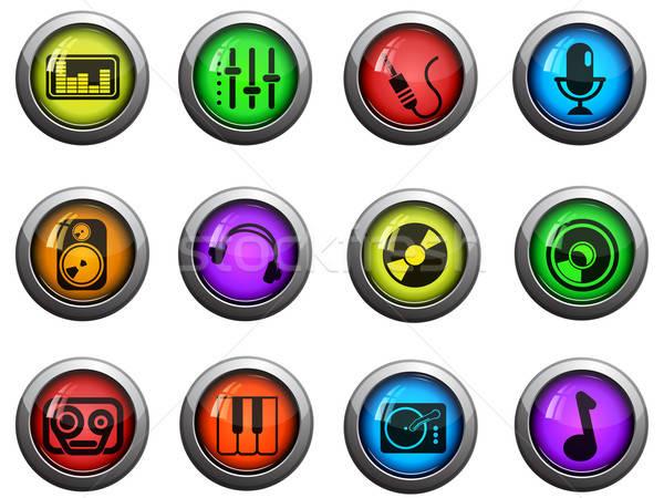 Audio zene ikon szett fényes ikonok weboldal Stock fotó © ayaxmr