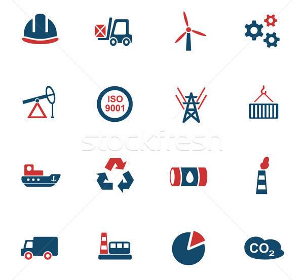 industry icon set Stock photo © ayaxmr
