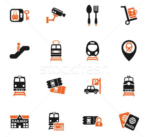 железнодорожная станция веб-иконы пользователь интерфейс дизайна Сток-фото © ayaxmr
