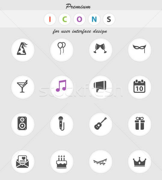 Partij eenvoudig iconen vector web gebruiker Stockfoto © ayaxmr