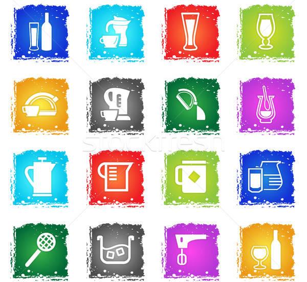 напитки вектора веб-иконы Гранж Сток-фото © ayaxmr