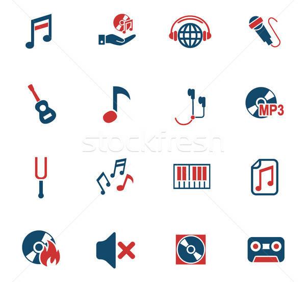 Zene ikon gyűjtemény webes ikonok felhasználó interfész terv Stock fotó © ayaxmr