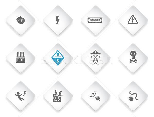 Electricity sign set isolated on white Stock photo © ayaxmr