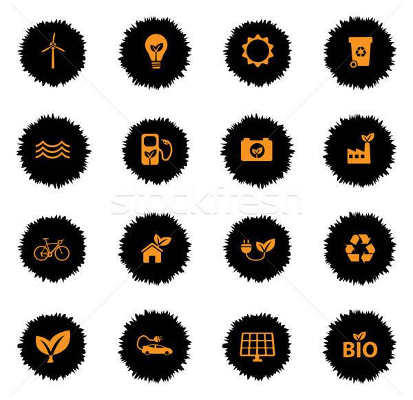 Alternatív energia egyszerűen ikonok vektor háló Stock fotó © ayaxmr
