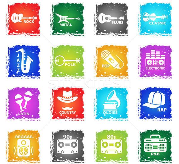 Musical webes ikonok grunge stílus felhasználó interfész Stock fotó © ayaxmr
