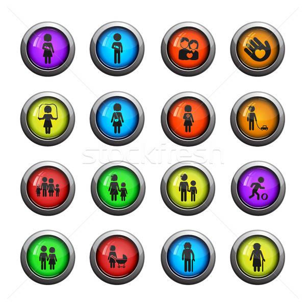 Familie eenvoudig iconen web gebruiker Stockfoto © ayaxmr