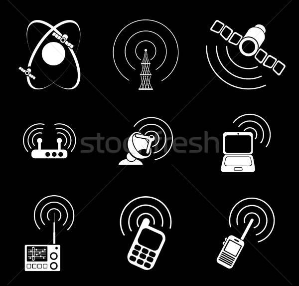 Radio signal simple vector icons Stock photo © ayaxmr
