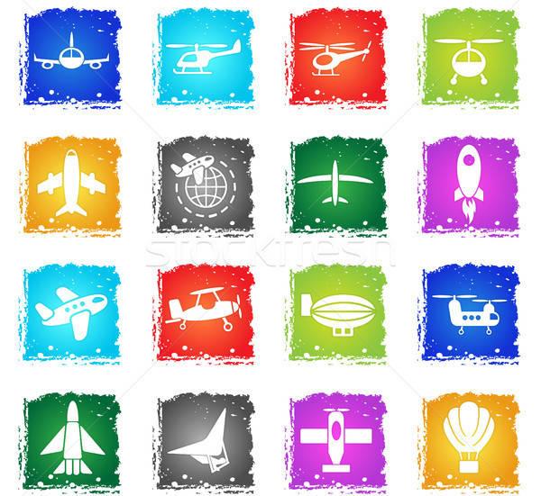 Havaalanı web simgeleri grunge stil kullanıcı Stok fotoğraf © ayaxmr