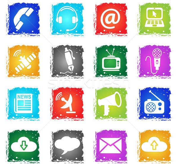 communication icon set Stock photo © ayaxmr