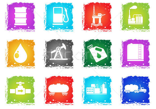Oil and petrol industry objects icons Stock photo © ayaxmr