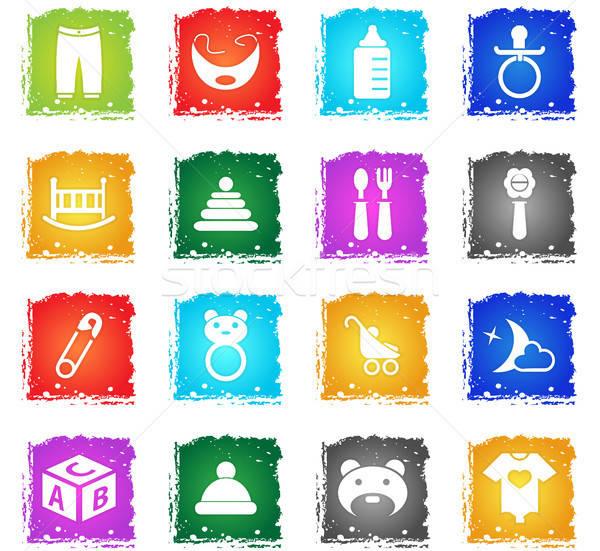 Babajátékok ikon gyűjtemény webes ikonok grunge stílus felhasználó Stock fotó © ayaxmr