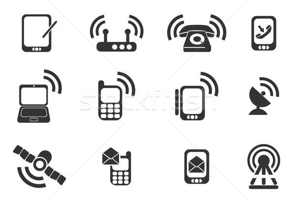 Mobil ikonok egyszerűen szimbólumok háló felhasználó Stock fotó © ayaxmr