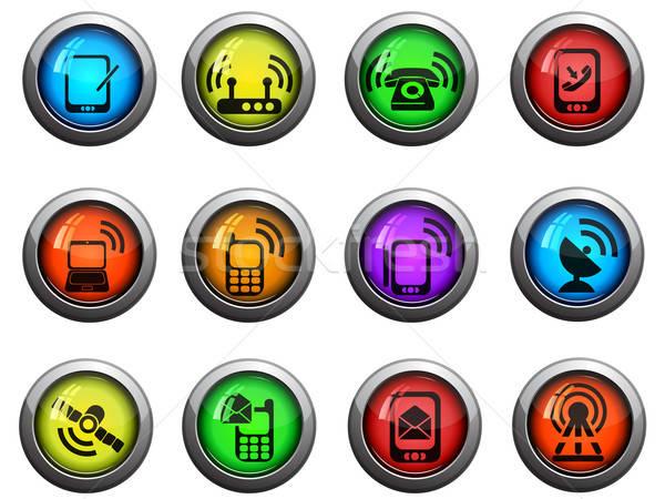 Mobile icons set Stock photo © ayaxmr