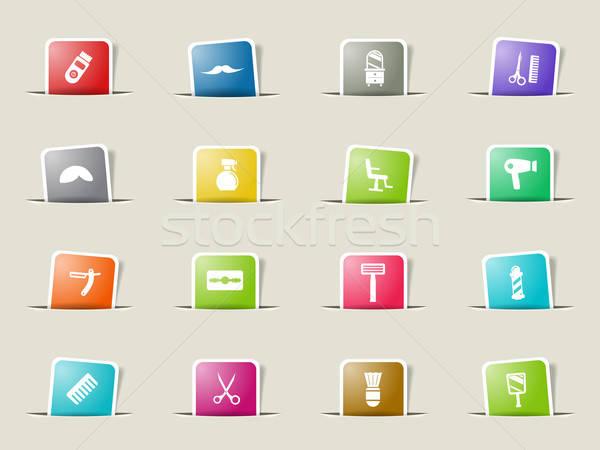 Stock fotó: Ikon · szett · háló · felhasználó · interfész · haj · asztal