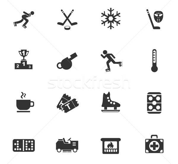 Jég pálya ikon gyűjtemény webes ikonok felhasználó interfész Stock fotó © ayaxmr