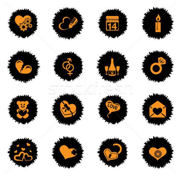 love messages icon set Stock photo © ayaxmr