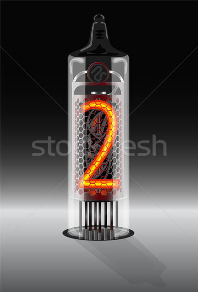 Digit 2 on vintage vacuum tube display Stock photo © ayaxmr