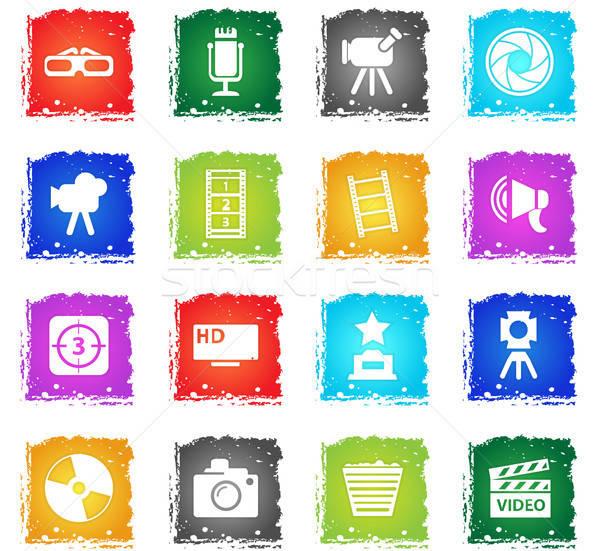 Cine iconos de la web grunge estilo usuario Foto stock © ayaxmr