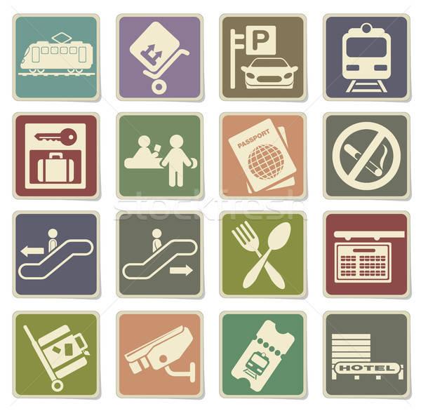 железнодорожная станция вектора иконки веб пользователь Сток-фото © ayaxmr